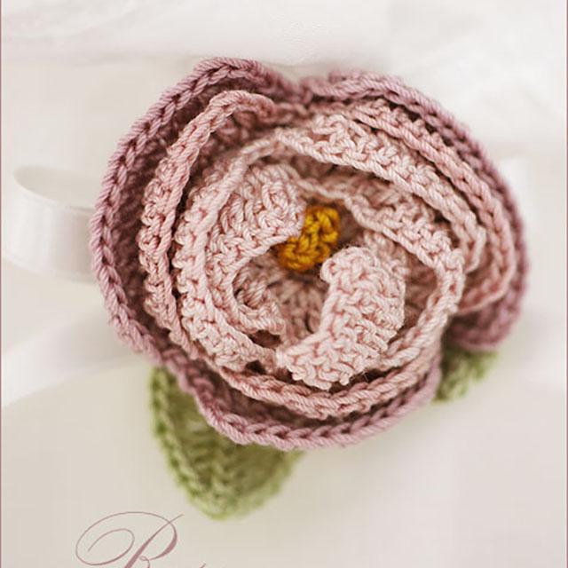 手編みの薔薇モチーフ-大