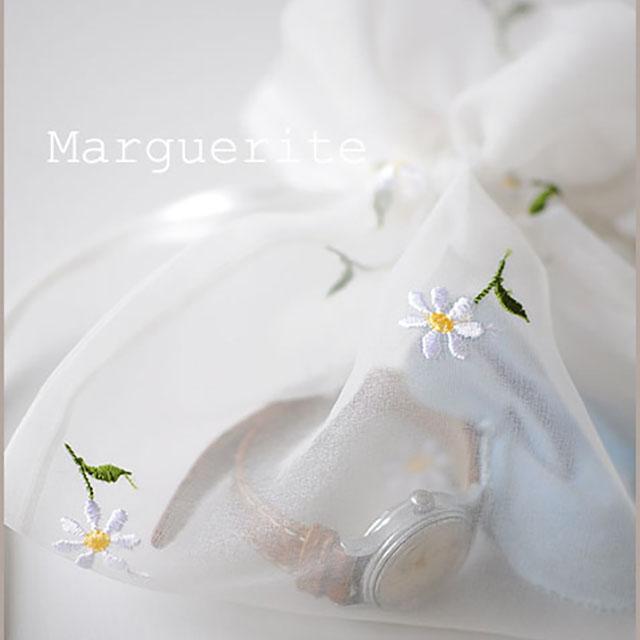 マーガレット柄の巾着