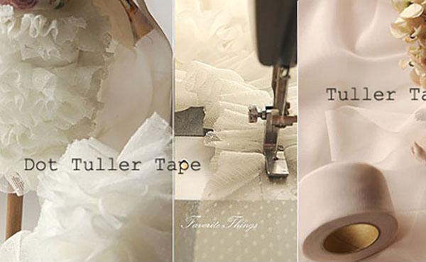 <span>フリルも簡単チュール テープ</span>チュール無地を4cm幅にカットしたチュールのテープです。ギャザーを寄せるときれいなフリルが簡単!